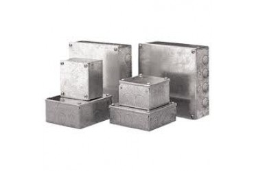 Image for Niglon Metal Adaptable Box 100X100X50mm  Galvanised Finish with Knockouts