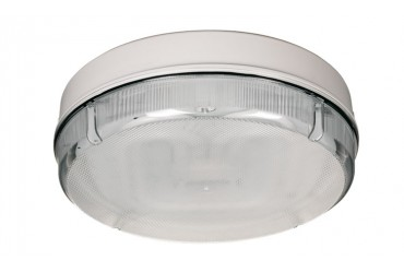 Image for Fern Howard Round Bulkhead 28Watt 2D High Frequency White Base Clear Prismatic Diffuser