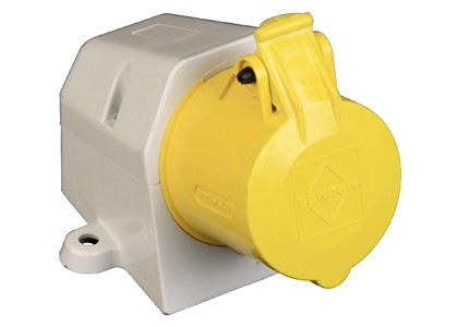 Lewden 508124 16A Yellow Industrial Angled Socket 3 Pin 110V IP44