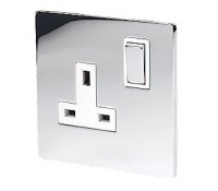 Image for Hamilton Sheer Flatplate 83SS1BC-W Switched Single Socket 1X13A Polished Chrome White Insert