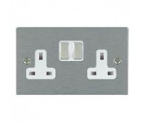 Image for Hamilton Hartland Slimplate Switched Double Socket 2X13A Satin Steel White Insert