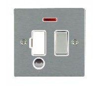 Image for Hamilton Hartland Slimplate Switched Spur 13A Double Pole Neon Flexible Outlet Satin Steel White Insert