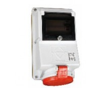 Image for Lewden PMRCD32/308C Red RCD Socket 32A 3P+N+E 415V IP44