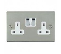 Image for Hamilton Hartland Slimplate 73SS2BC-W Switched Double Socket 2X13A Polished Chrome White Insert