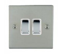 Image for Hamilton Hartland Slimplate 73R22BC-W Switch 10AX 2 Gang 2Way Polished Chrome White Insert