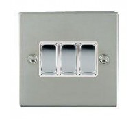 Image for Hamilton Hartland Slimplate 73R23BC-W Switch 10AX 3G 2Way Polished Chrome White Insert