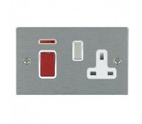Image for Hamilton Hartland Slimplate Cooker Unit 45A Double Pole Neon Satin Steel White Insert