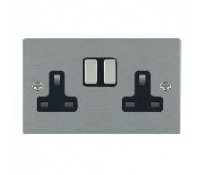Image for Hamilton Hartland Slimplate Switched Double Socket 2X13A Satin Steel Black Insert