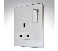 Image for MK Aspect K24357POCW 13A 1 Gang Double Pole Dual Earth Switched Socket Polished Chrome White Insert