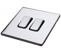 Image for MK Aspect K24372BSSB 2 Gang 20A Single Pole 2 Way Switch Brushed Stainless Steel Black Insert
