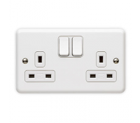 Image for MK Metalclad Plus K3046WHI 2 Gang 13A Double Pole Switched Socket No Box White