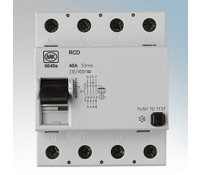 Image for MK Sentry 6640S RCD Sensitive 4 Pole 4 Module 40A 230/400V 30mA Tripping