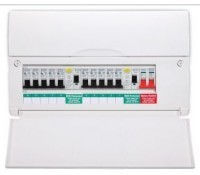 Image for BG Electrical Nexus Circuit Protection CUDP16610 16 Module Dual RCD 100A Switch And 2x 63A RCD Populated with 10x MCBs
