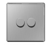 Image for BG Electrical Nexus Flatplate Screwless FBS82P Dimmer Switch 2 Gang 2 Way 400W Brushed Steel