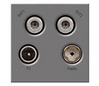 Image for BG Electrical Nexus Euro Module EMTVFMSAT2G TV Radio Satellite TV Male Radio Dual Satellite F Type Outlet Grey