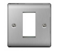 Image for BG Electrical Nexus Metal NBSEMS1 1 Module Square Front Plate Brushed Steel