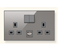 Image for MK Elements 13A 2 Gang  Twin USB DP Switched Socket Outlet Glass Effect Polished Stone K34343GPS