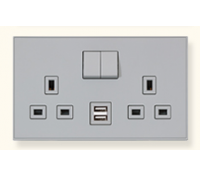 Image for MK Elements 13A 2 Gang  Twin USB DP Switched Socket Outlet Synthetics Beach Pebble K34343SBP