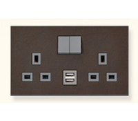 Image for MK Elements 13A 2 Gang  Twin USB DP Switched Socket Outlet Naturals Dark Hide K34343NDH