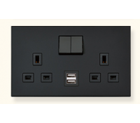Image for MK Elements 13A 2 Gang  Twin USB DP Switched Socket Outlet Metallics Cast Iron K34343MCI