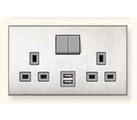 Image for MK Elements 13A 2 Gang  Twin USB DP Switched Socket Outlet Metallics Brushed Steel K34343MBS
