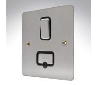 Image for MK Edge K14941BSSB 13A Double Pole Connection Unit Switch Brushed Stainless Steel Black Insert