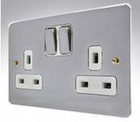 Image for MK Edge K14345POCW 13A 2 Gang Double Pole Switched Socket Clean Earth Polished Chrome White Insert