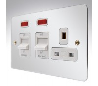Image for MK Edge K14361POCW 45A Double Pole Cooker Control Unit Neon Polished Chrome White Insert