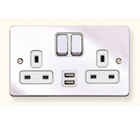 Image for MK Edge 13A 2 Gang  Twin USB DP Switched Socket Outlet Polished Chrome White Insert K14343POCW