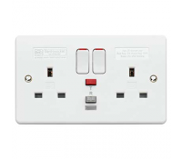 Image for MK Logic Plus K6233WHI 2 Gang RCD Protected Switched Socket 30mA Passive White