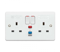 Image for MK Logic Plus K6231WHI 2 Gang RCD Protected Switched Socket 30mA Active White
