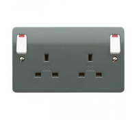 Image for MK Logic Plus K2476GRA 13A 2 Gang Double Pole Switched Socket Dual Earth Neons Graphite