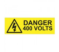 "Industrial Signs Label ""Danger 400 Volts"" Self Adhesive Pack of 10"