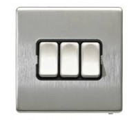 Image for MK Aspect K24373BSSB 3 Gang Single Pole 2 Way 10A Switch Brushed Stainless Steel Black Insert