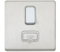 Image for MK Aspect K24941BSSW 13A Double Pole Switch Connection Unit Brushed Stainless Steel White Insert
