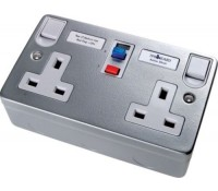 Image for Timeguard Tripfast TFA08M Double 13Amp Socket Outlet with Latched RCD trip Metalclad