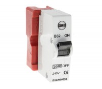 Image of Wylex B32 32A SP Plug-In MCB Type B Red Base