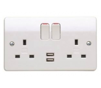 MK Logic Plus K2743WHI 13A 2 Gang Twin USB Double Pole Switched Socket Outlet White