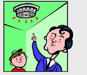 Cartoon Image of Smoke Alarm Inspection
