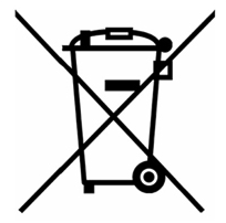 Image of symbol to remind you that old electrical equipment can be recycled, it is now marked with a crossed-out wheelie bin symbol.